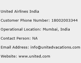 United Airlines India Phone Number Customer Service