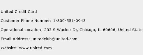 United Credit Card Phone Number Customer Service