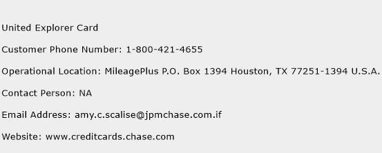 United Explorer Card Phone Number Customer Service