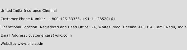 United India Insurance Chennai Phone Number Customer Service