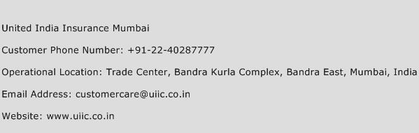 United India Insurance Mumbai Phone Number Customer Service