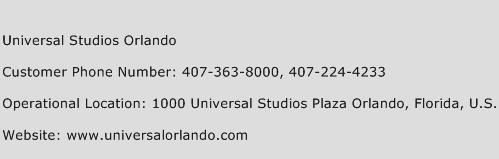 Universal Studios Orlando Phone Number Customer Service