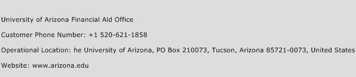 University of Arizona Financial Aid Office Phone Number Customer Service
