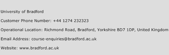 University of Bradford Phone Number Customer Service