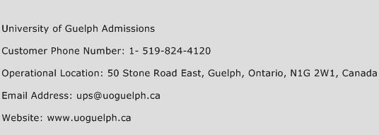 University of Guelph Admissions Phone Number Customer Service