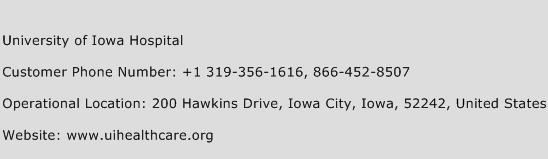 University of Iowa Hospital Phone Number Customer Service