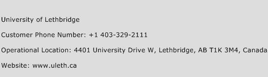 University of Lethbridge Phone Number Customer Service