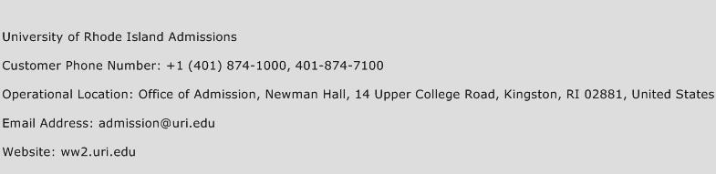 University of Rhode Island Admissions Phone Number Customer Service