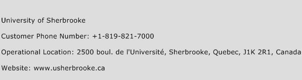 University of Sherbrooke Phone Number Customer Service