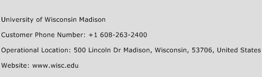 University of Wisconsin Madison Phone Number Customer Service