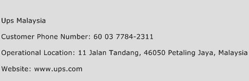 Ups Malaysia Phone Number Customer Service