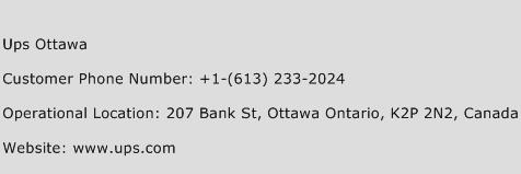 Ups Ottawa Phone Number Customer Service