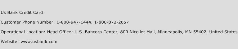 Us Bank Credit Card Phone Number Customer Service