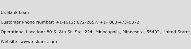 Us Bank Loan Phone Number Customer Service