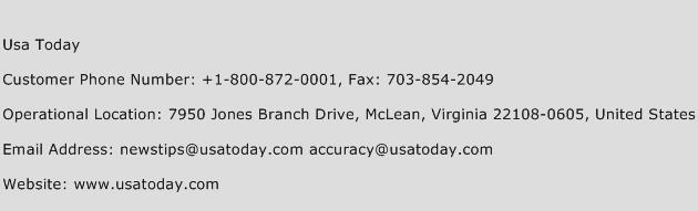 Usa Today Phone Number Customer Service
