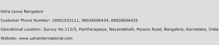 Usha Lexus Bangalore Phone Number Customer Service