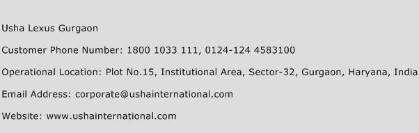 Usha Lexus Gurgaon Phone Number Customer Service