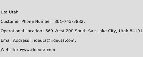 Uta Utah Phone Number Customer Service