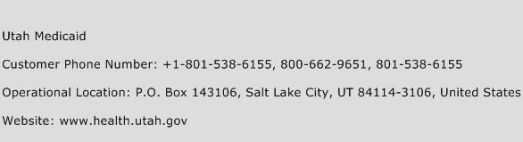 Utah Medicaid Phone Number Customer Service