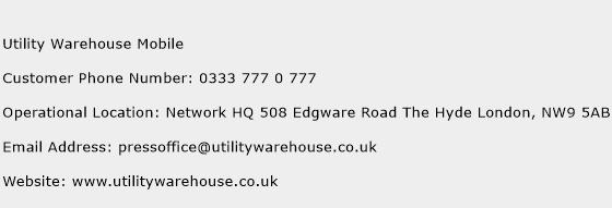 Utility Warehouse Mobile Phone Number Customer Service