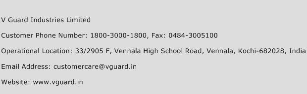 V Guard Industries Limited Phone Number Customer Service
