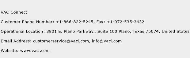 VAC Connect Phone Number Customer Service