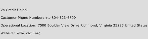 Va Credit Union Phone Number Customer Service