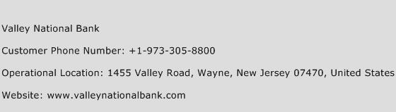 Valley National Bank Phone Number Customer Service