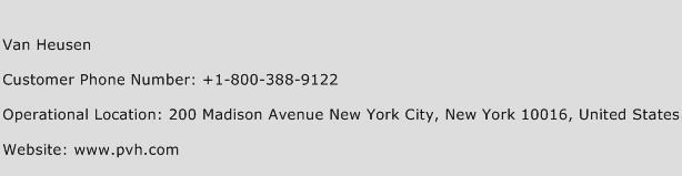 Van Heusen Phone Number Customer Service
