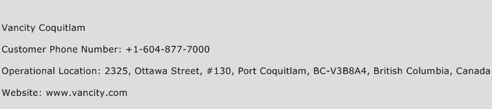 Vancity Coquitlam Phone Number Customer Service