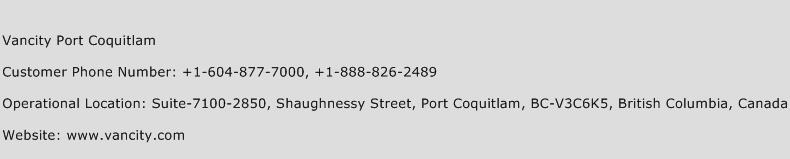 Vancity Port Coquitlam Phone Number Customer Service