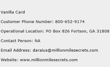 Vanilla Card Phone Number Customer Service