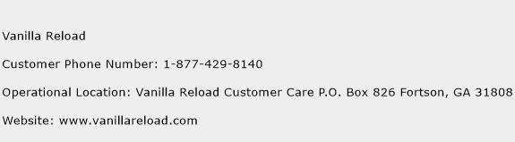 Vanilla Reload Customer Service Phone Number | Contact Number ...