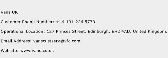 Vans UK Phone Number Customer Service