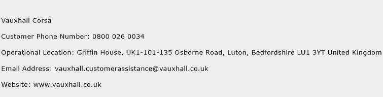 Vauxhall Corsa Phone Number Customer Service