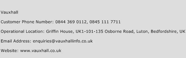 Vauxhall Phone Number Customer Service