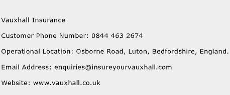 Vauxhall Insurance Phone Number Customer Service
