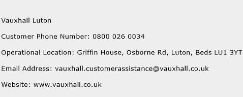 Vauxhall Luton Phone Number Customer Service