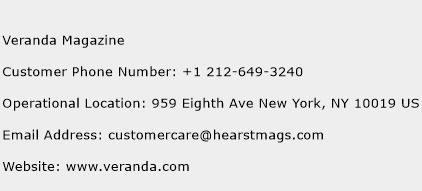 Veranda Magazine Phone Number Customer Service