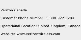 Verizon Canada Phone Number Customer Service