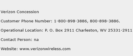Verizon Concession Phone Number Customer Service