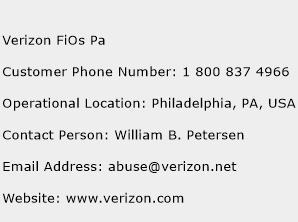 Verizon FiOs Pa Phone Number Customer Service