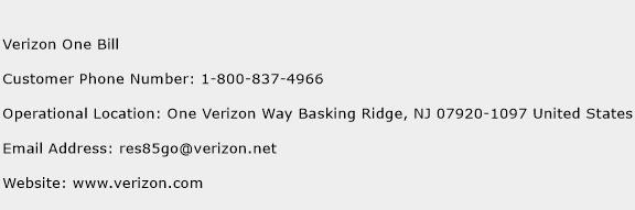 Verizon One Bill Phone Number Customer Service