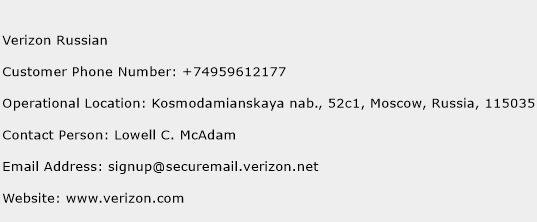 Verizon Russian Number  Verizon Russian Customer Service Phone Number  Verizon Russian Contact