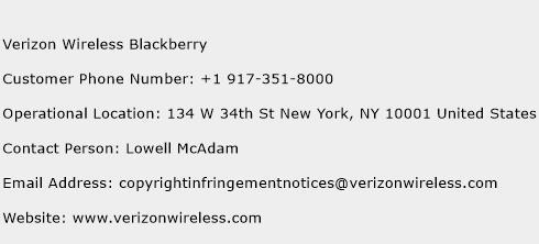 Verizon Wireless Blackberry Phone Number Customer Service