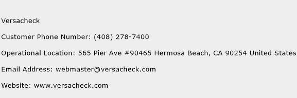 Versacheck Phone Number Customer Service