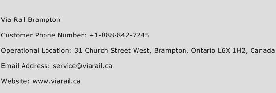 Via Rail Brampton Phone Number Customer Service