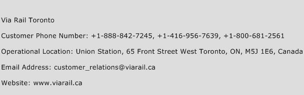 Via Rail Toronto Phone Number Customer Service