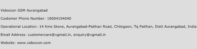 Videocon GSM Aurangabad Phone Number Customer Service