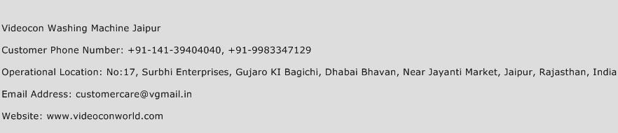 Videocon Washing Machine Jaipur Phone Number Customer Service